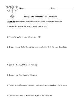 Hanukkah (Chanukah) Poems/Songs (2) with Worksheets & Detailed Answer Keys
