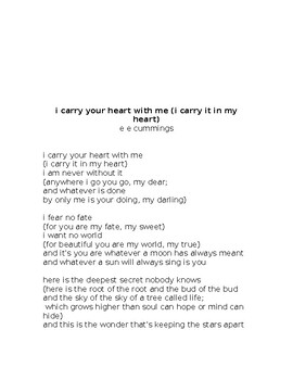 Poetry- I Carry Your Heart With Me Analysis