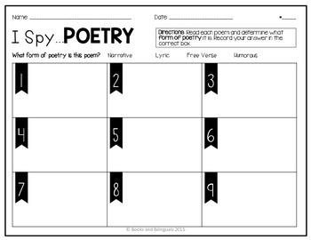 Poetry I Spy Recording Sheet {Bilingual}