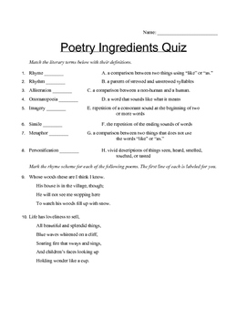 Poetry Ingredient Quiz