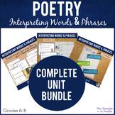 Poetry Unit:  Interpret Words & Phrases SET -Vocab, Notes,