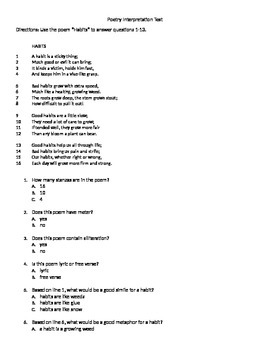 Poetry Interpretation Test