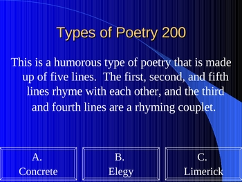 Poetry Jeopardy Review Game