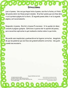 Poetry Journal in Spanish-Diario de poesía de grado 3rd