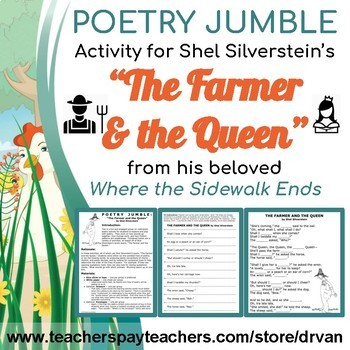 """Poetry Jumble Activity: """"The Farmer and the Queen"""" by Shel Silverstein"""