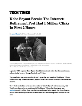 "Poetry: Kobe Bryant & ""Fast Break""-- Basketball Themed!"