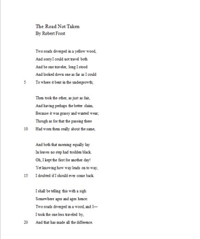 """Poetry Lesson Doing Compare and Contrast with """"Road Not Taken"""""""