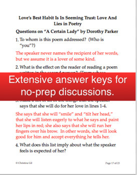 William Shakespeare Sonnet 138 and Dorothy Parker Poetry Lesson: Love and Lies