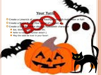 Poetry Lesson Powerpoint with Rubric (Halloween/Fall Theme)