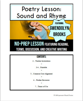 Sound and Rhyme: High School Poetry Lesson and Creative Writing
