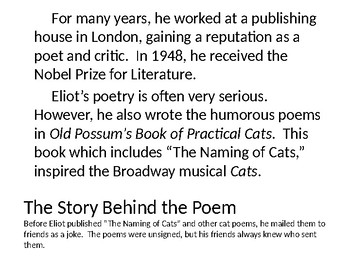 Poetry Lesson with T. S. Elliot & The Naming of Cats