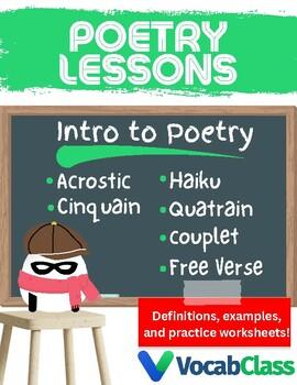 Poetry Lessons | Acrostic, Cinquain, Couplet, Quatrain, Haiku, Free Verse Poems
