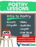 Poetry Lessons   Acrostic, Cinquain, Couplet, Quatrain, Haiku, Free Verse Poems