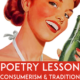 Gender Roles Poetry Close Reading Lesson | Consumerism 1950s | Poetry Analysis