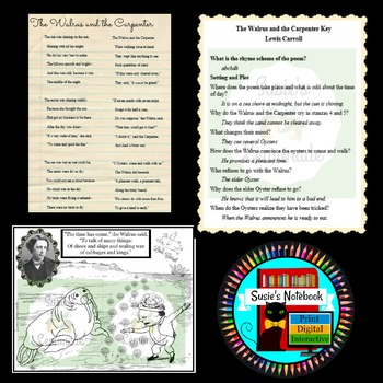 Poetry, Lewis Carroll, Walrus and the Carpenter Questions and Coloring