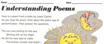 Poetry - Lewis Carroll w/ 6 Interpretation Qs Personification, Making Inferences