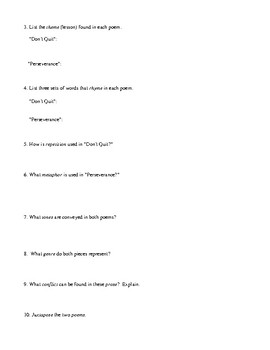 Poetry: Lessons About Hard Work and Positive Attitude Printable with Answer Key