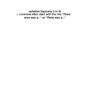 Poetry Limerick Directions