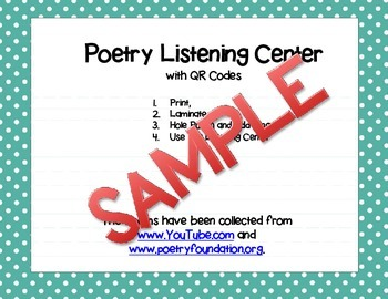 Poetry Listening Center with QR Codes Sample