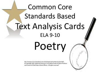 Poetry Analysis Task Cards:CCSS Literary Analysis: ELA 9-10