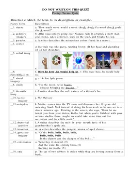 Poetry Literary Terms Quiz