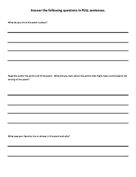Poetry Literary Terms Tracking Worksheet