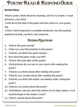 Poetry Log, plus Read and Respond Guiding Questions