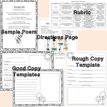 Creative Writing Poetry Made-Up-Animal Lesson, Templates and Rubric *Senses*