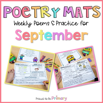 Poem of the Week Poetry Activity Mats for September - Back to School