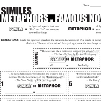 Metaphors And Similes Teaching Resources Teachers Pay Teachers
