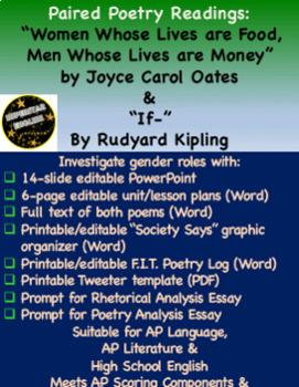 Poetry Mini-Unit: Gender Roles in Oates & Kipling works - AP Lit, AP Lang