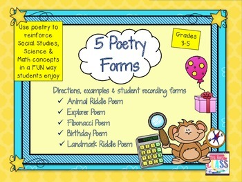 5 Poetry Forms - Reinforce Subject Area Content with Poetry