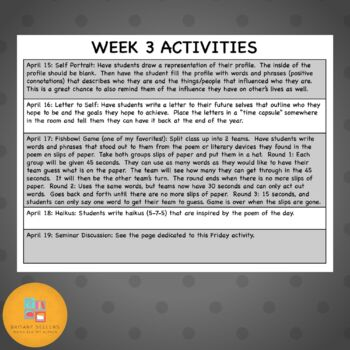 Poetry Month Poem-A-Day and Activities