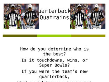 Poetry Motivators: Football And Quarterbacks
