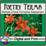 Poetry Terms Test or Quiz Multiple Choice Formative Assessment