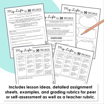 Back to School Activities / Beginning of the Year Activity - My Life in 30 Words