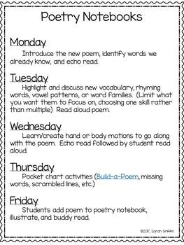 Poetry Notebook Schedule