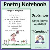 Poetry Notebook: September Songs, Poems, and Rhymes