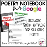 Distance Learning Digital Poetry Notebook for Google Drive