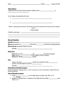 Poetry Notes Handout