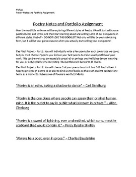 Poetry Notes and Portfolio Project.