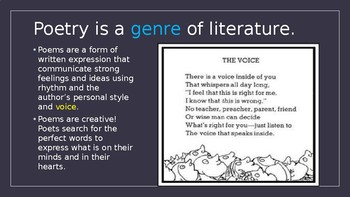Poetry Overview Powerpoint Presentation Grades 3-5