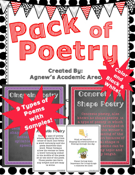Pack of Poetry:  9 Types of Poems with Original Samples