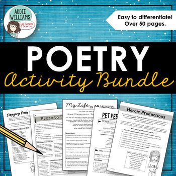 Poetry Activity Bundle - Writing, Analysis and Review Resources