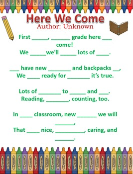 Poetry Packet - First Grade Here We Come
