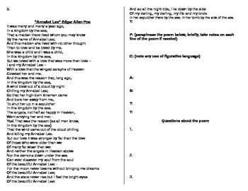 Poetry Packet - Poetry Terms and TPCAST Analysis