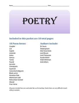 Poetry Packet companion poems