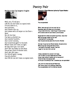 """Poetry Pair:  """"Dear Momma"""" by Tupac and """"Mother to Son"""" by Hughes"""