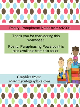 Poetry: Paraphrasing Notes