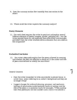 Poetry Peer Review Worksheet